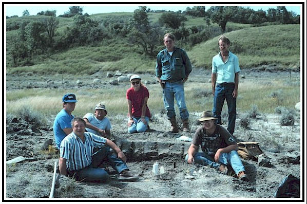 Cooperstown Pierre Shale Site :   Mike Hanson, Dennis Halvorson, Gene Loge, Beverly Tranby, Orville Tranby,   Johnathan Campbell, and Scott Tranby at the mosasaur excavation site.