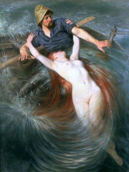 Sirena rapita dal mare -Marina,Racconti di mare - Quadro di Knut Ekwall (Svezia, 1843–1912) pescatore e sirena -data non conosciuta