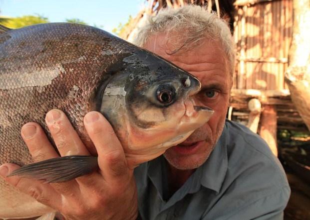 Pesce mangia testicoli -Jeremy Wade con un Pacu