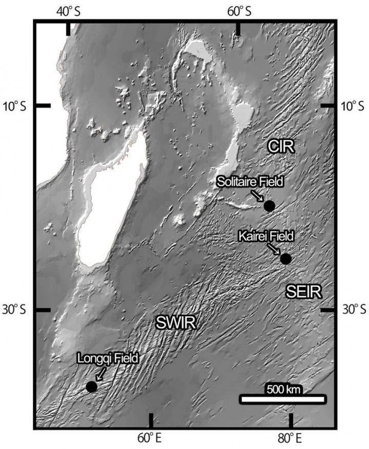 I tre campi di sfogo in cui Chrysomallon squamiferum è stata rilevata. Immagine tramite morethanadodo